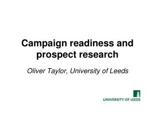 Campaign readiness and prospect research