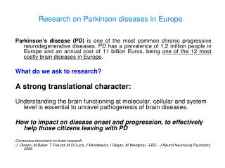 Research on Parkinson diseases in Europe