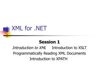 XML for .NET