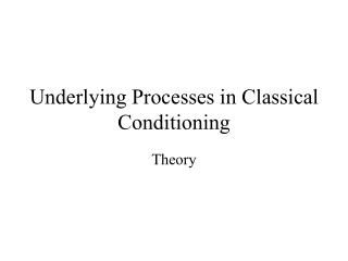 Underlying Processes in Classical Conditioning