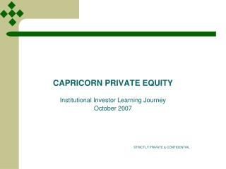 CAPRICORN PRIVATE EQUITY