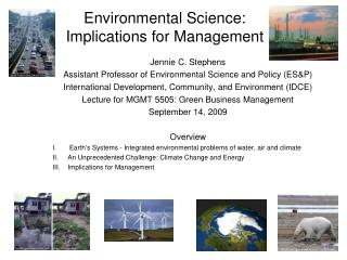 Environmental Science:  Implications for Management