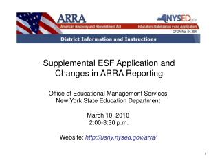 Supplemental ESF Application and  Changes in ARRA Reporting