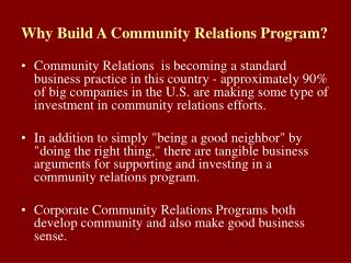 Why Build A Community Relations Program?