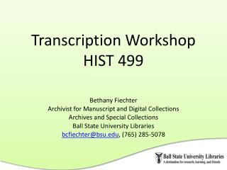 Transcription Workshop  HIST 499