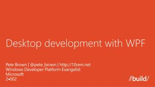 Desktop development with WPF