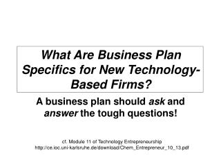 What Are Business Plan Specifics for New Technology-Based Firms?