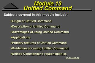Module 13  Unified Command