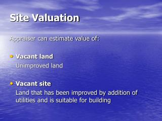 Site Valuation