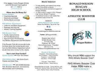 If the  family  of every Reagan Athlete joins the Booster Club together  we  CAN  make a
