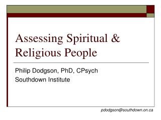 Assessing Spiritual & Religious People