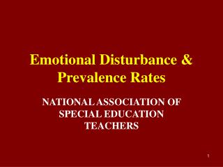 Emotional Disturbance & Prevalence Rates