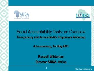 Social Accountability Tools: an Overview Transparency and Accountability Programme Workshop