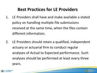 Best Practices for LE Providers