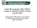 Trailer Bill Language TBL ABX49, Chapter 9, Statutes of 2009, enacted  July 28, 2009
