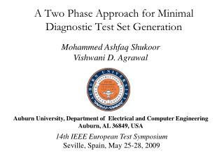 A Two Phase Approach for Minimal Diagnostic Test Set Generation