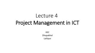 Lecture 4 Project Management in ICT