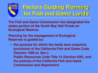 Factors Guiding Planning for Fish and Game Lands