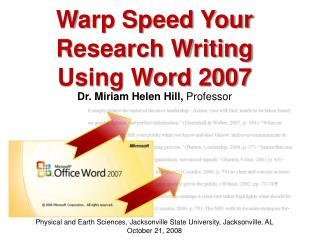 Warp Speed Your Research Writing Using Word 2007