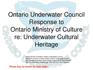 Ontario Underwater Council Response to Ontario Ministry of Culture re: Underwater Cultural Heritage