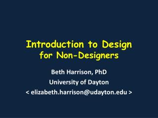 Introduction to Design for Non-Designers