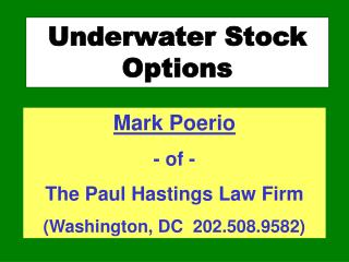 Underwater Stock Options