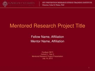 Mentored Research Project Title