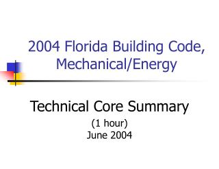 2004 Florida Building Code, Mechanical/Energy