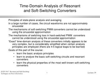 Time-Domain Analysis of Resonant and Soft-Switching Converters
