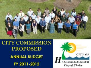 CITY COMMISSION PROPOSED ANNUAL BUDGET FY 2011-2012