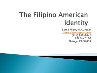 The Filipino American Identity
