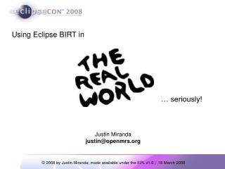 Using Eclipse BIRT in