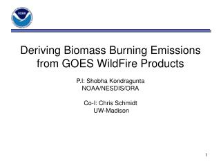 Deriving Biomass Burning Emissions from GOES WildFire Products