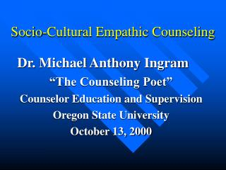 Socio-Cultural Empathic Counseling