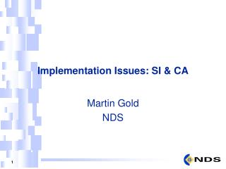 Implementation Issues: SI & CA