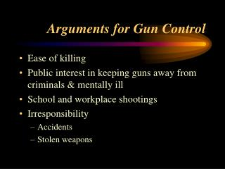 Arguments for Gun Control