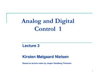 Analog and Digital Control  1