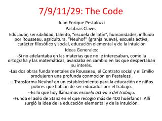 7/9/11/29: The Code