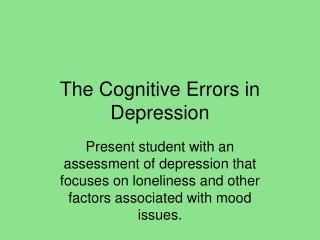 The Cognitive Errors in Depression
