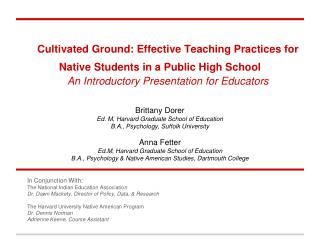 Cultivated Ground: Effective Teaching Practices for Native Students in a Public High School