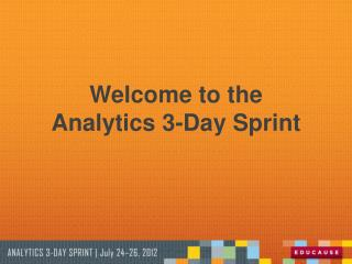 Welcome to the Analytics 3-Day Sprint