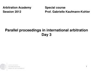 Parallel proceedings in international arbitration Day 3