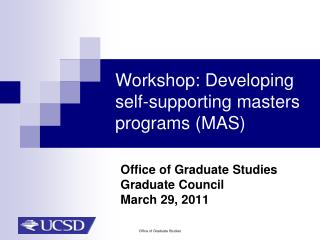 Workshop: Developing self-supporting masters programs (MAS)