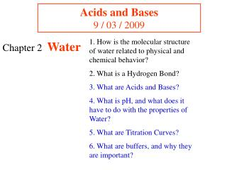 Acids and Bases 9 / 03 / 2009