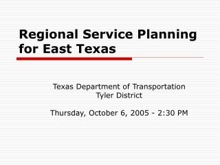 Regional Service Planning for East Texas