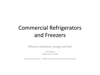 Commercial Refrigerators and Freezers