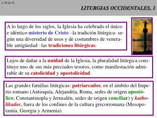 LITURGIAS OCCIDENTALES, 1