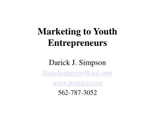 Marketing to Youth Entrepreneurs