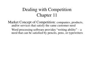 Dealing with Competition Chapter 11