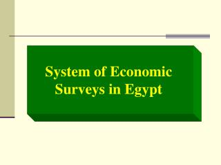 System of Economic Surveys in Egypt
